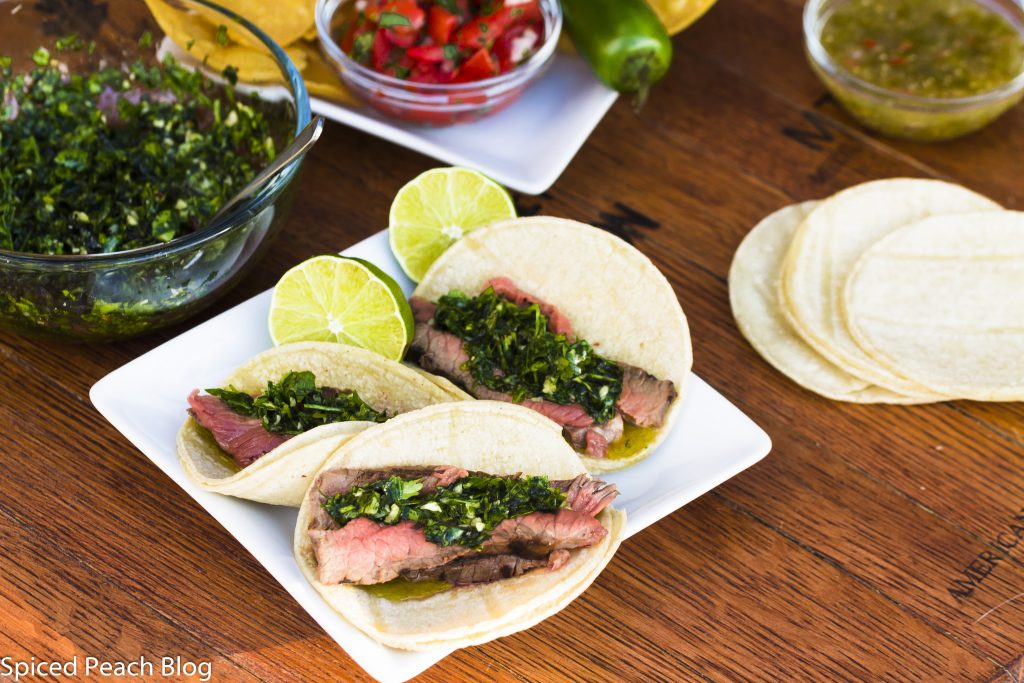 Carne Asada, Chimichurri on Mini Tortillas