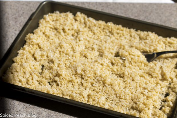 prepared bulgur fluffed and cooling