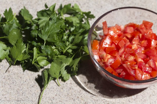 fresh parsley and chopped tomatoes