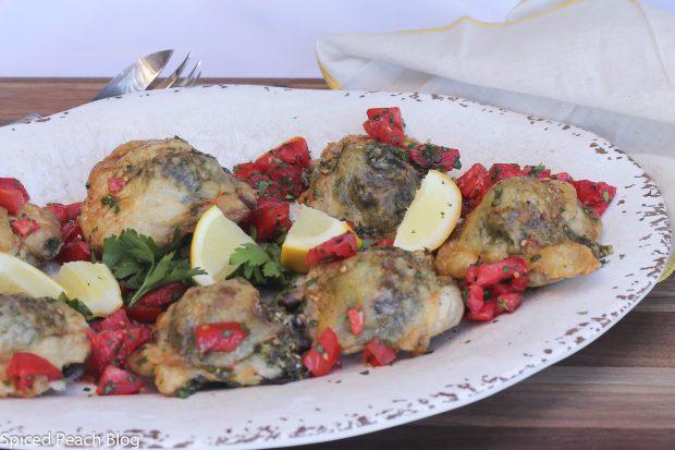 One-Pan Pesto Chicken Thighs
