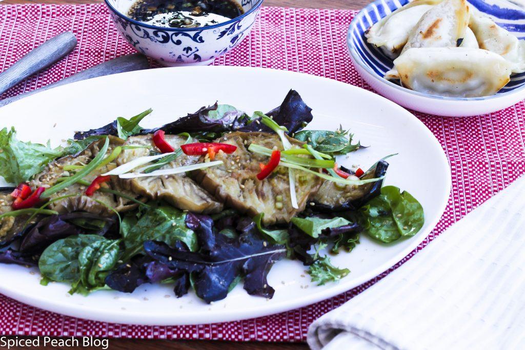Roasted Eggplant, Mixed Greens Salad, Soy Sesame Vinaigrette