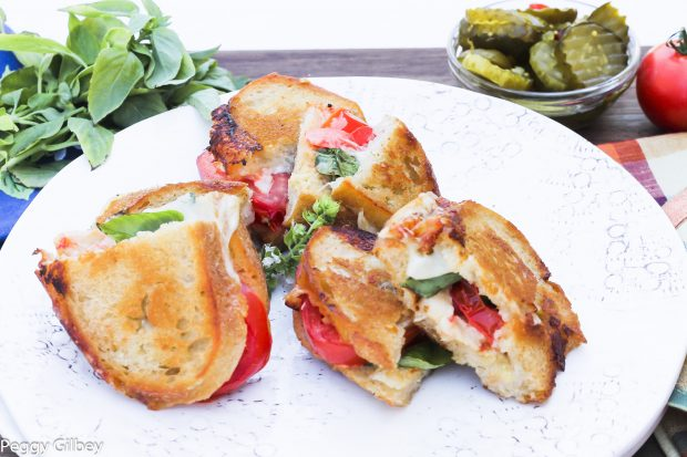 Grilled Cheese, Tomatoes and Basil on Sourdough