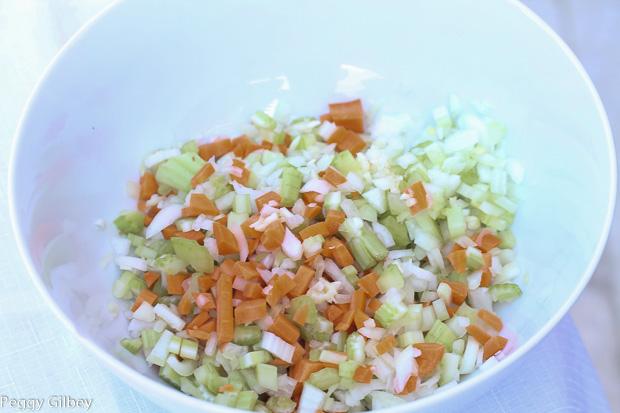 chopped carrots, onions, celery