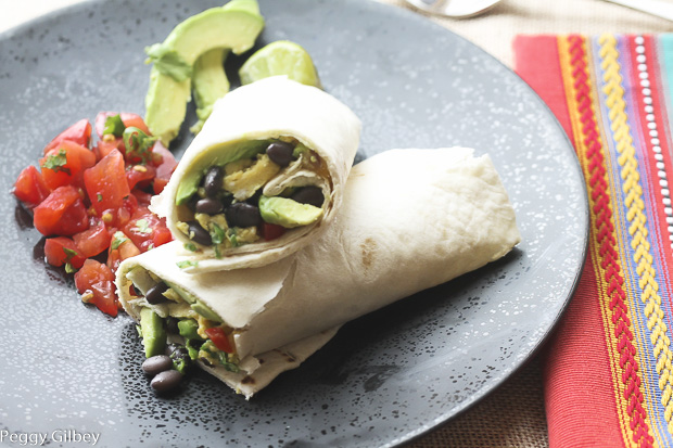 Black Beans, Avocado, and Egg Burrito