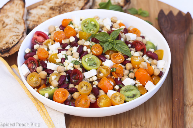 Multi-Colored Tomatoes, Beans, Corn, Basil Salad