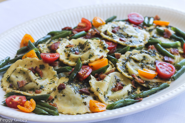 Spinach-Cheese-Ravioli-Basil-Parsley-Pesto-Green Beans-Bacon