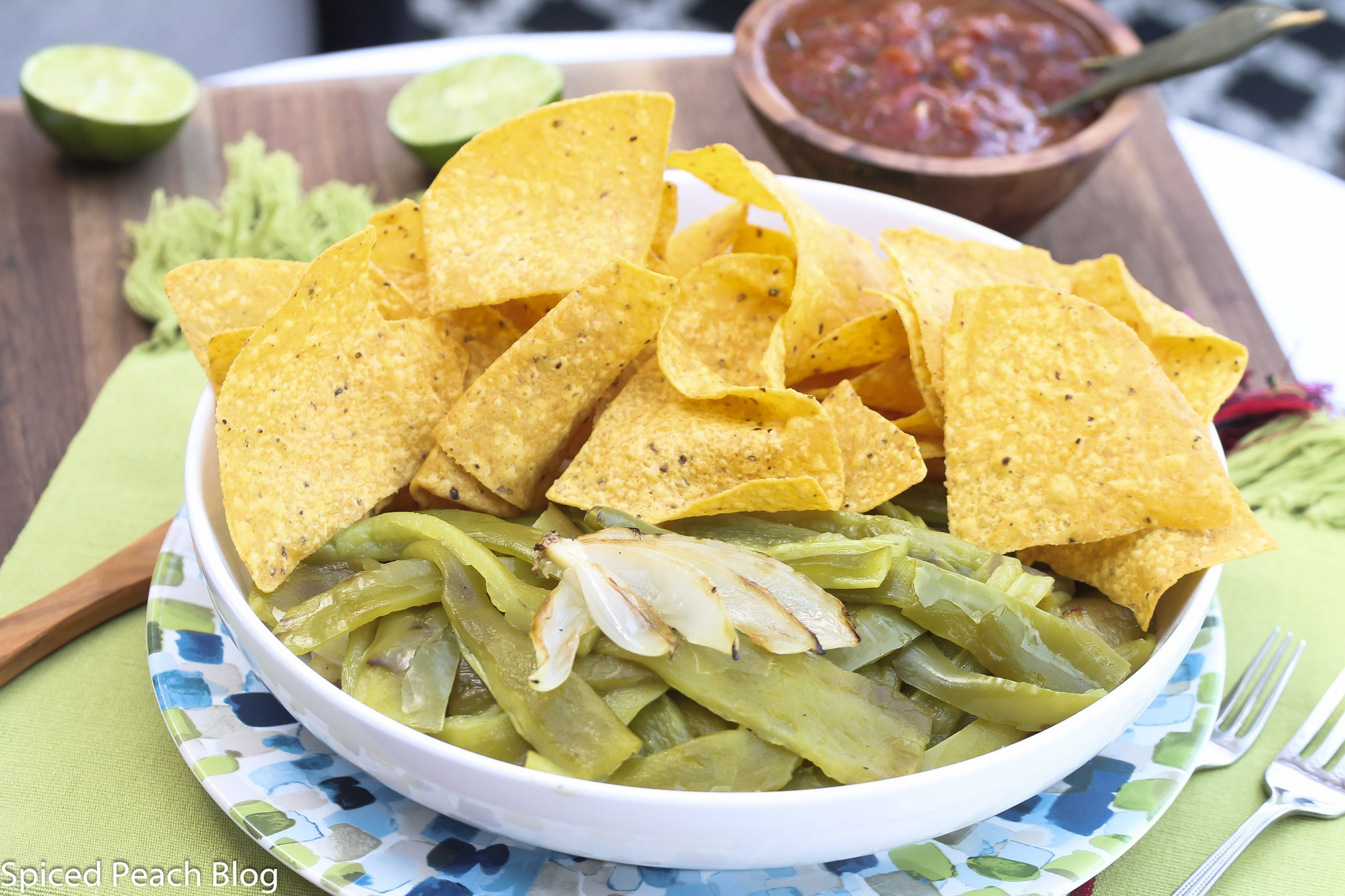 Grilled Hatch Chiles, Tortilla Chips