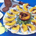 Grilled Peaches, Blue Cheese Butter, Candied Pecans Bruschetta