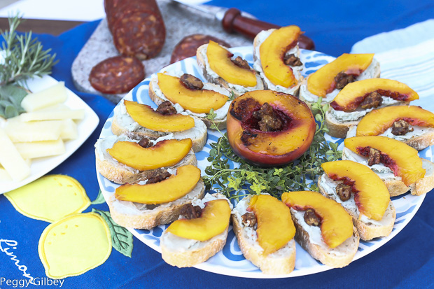 Grilled- Peaches- Blue- Cheese- Butter- Candied- Pecans- Bruschetta